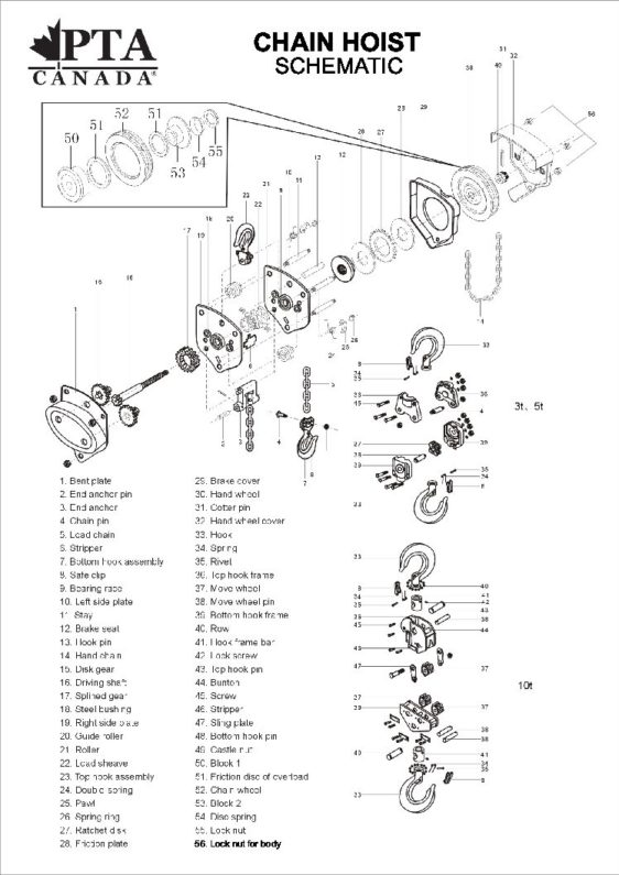 Premium Tool & Asives Chain Hoist Parts List and Schematic ... on
